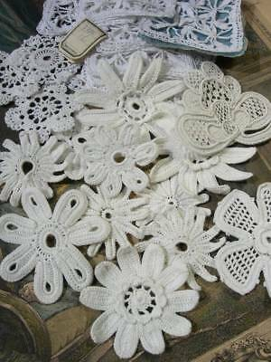 Collection 27 handmade antique French lace flower appliques