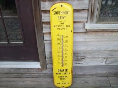 "Vintage 36"" Southport Paint, Wesson Oil, Madison, Tennessee Thermometer, Draper"