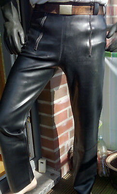 Latex Jeans, 2 Frontzipper, S, schwarz, sailor style, Zimmermannshose