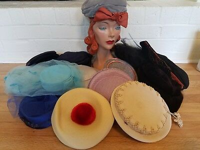 Lot of 14 Women's Vintage Pillbox Half Hats Costume/Theater/Dress Up/Photography