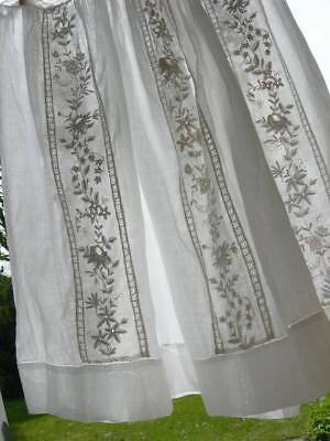 Finest linen lawn antique French 1920s wedding dress skirt w. hand embroidery
