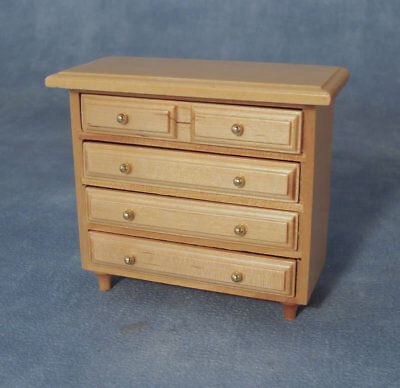 Chest Of Drawers In Pine, Dolls House Miniature Furniture, 1.12 Scale