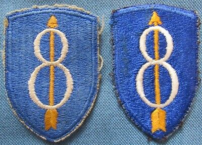 "Lot of 2 WWII US Army 8th Infantry Division shoulder patches; 1 is ""greenback"""
