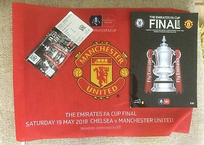 Man Utd v Chelsea FA Cup Final 2018 Matchday Programme Ticket & Flag