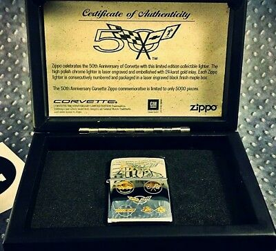 Zippo Limited Edition Corvette 50th Anniversary Nr: 0980/5000 24K Gold inlays