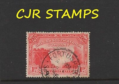 RHODESIA 1905 FALLS 1d     -     FORT USHER (SC) CANCEL   -   RATED VERY RARE