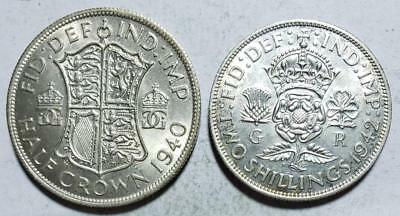 Great Britain, 1/2 Crown, 1940, Uncirculated & Florin, 1942 AU .409 Ounce Silver