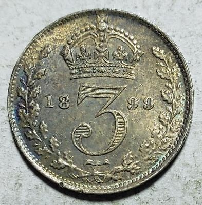 Great Britain, 3 Pence, 1899, Toned Almost Uncirculated, .042 Ounce Silver