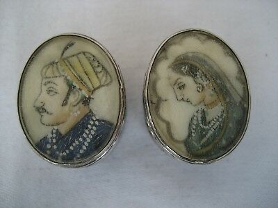 Pair Of Indian Silver Boxes With Portraits Of Mughal Prince & Princess
