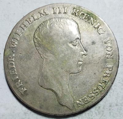 Prussia, Germany, Thaler, 1814A, Fine, .537 Ounce Silver