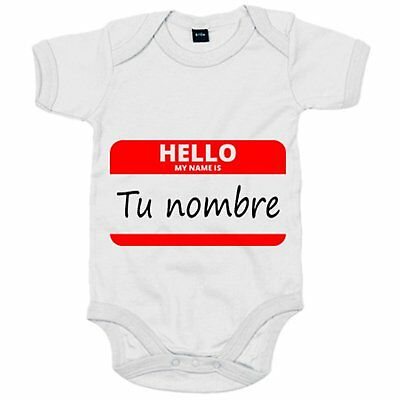 Body bebé Hello My Name Is tu nombre personalizable