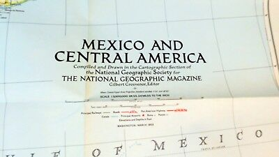 Vintage 1953 National Geographic Magazine Mexico and Central America Map