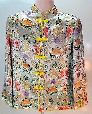 Vintage Silk Japanese Oriental Kimono Jacket Gray Yellow Womens Size Large