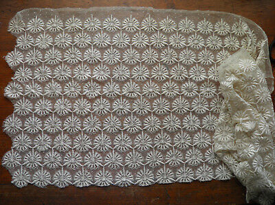 "1.5 YD ANTIQUE FRENCH VICTORIAN NETTING MESH EMBROIDERY COTTON LACE IVORY 18"" w"