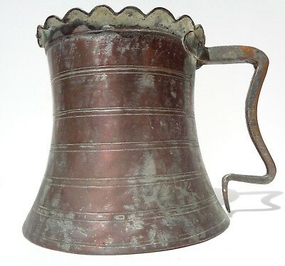 Old Primitive Vintage Antique BRASS COPPER Pitcher Unique Scalloped Garden
