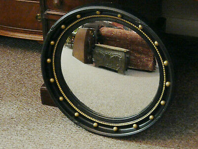 Old Regency Style Fish Eye Convex Port Hole Mirror 52cm Gesso Wall Hung Nautical