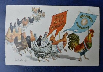 """Jenny Nystrom, Artist Signed Postcard 1909. """"Chickens Union"""" Denmark,Norway."""