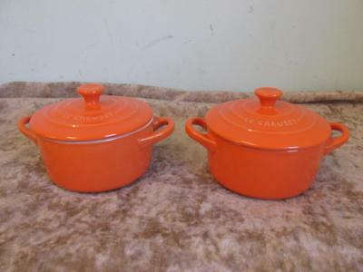 "Set Of 2 Le Creuset Volcanic Orange Mini Cocottes With Lids 3"" x 5.5"""