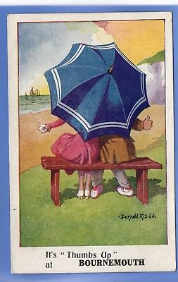 Old Vintage  Postcard Donald Mcgill It's Thumbs Up At Bournemouth Couple On Seat