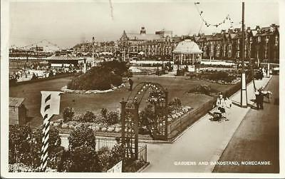 RP Postcard-  MORECAMBE  -WEST END- Gardens & Bandstand-1930's-Putting Green