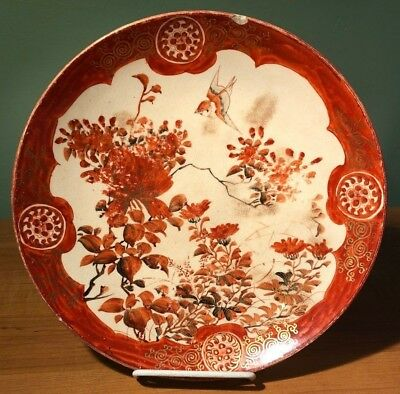 Pair Antique Hand Painted Asian Plates Birds + Flowers Japanese Chinese
