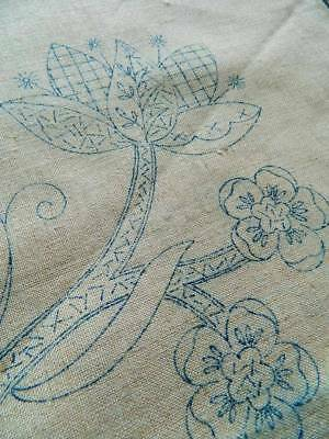 Vintage 1940's Irish linen 2 cushion covers Jacobean transfer to hand embroider