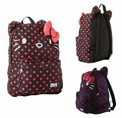 Hello Kitty Polka Dot Backpack Grey Bag Loungefly Sanrio 3D Bow Face NEW b79364a000196