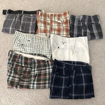 Lot Of 7 Boys Shorts Sizes 33/34 American Eagle And Hollister