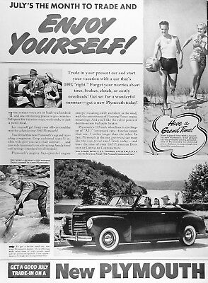 1940 PLYMOUTH CONVERTIBLE Genuine Vintage Advertisement ~ MSRP $950