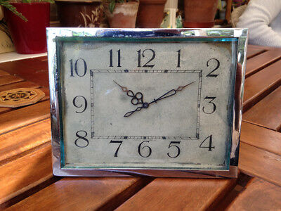 S Smith & Son Ltd. English chrome rectangular clock 1930s/40s