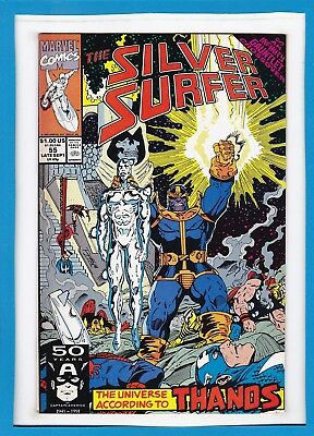 "Silver Surfer #55_Late Sept 1991_Vf Minus_""universe According To Thanos""!"