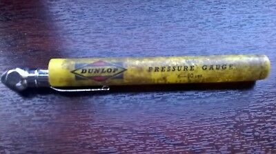 Vintage Dunlop G/6 Tyre pressure gauge in original yellow rubber case. 6 - 50lbs