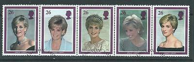 GB1998 - Princess Diana Commemoration - Set as strip - Very Fine Used