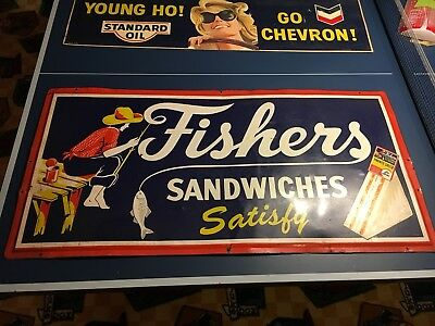 Vintage Rare Tin Fisher's Sandwich Sign Colorful Boy Fishing