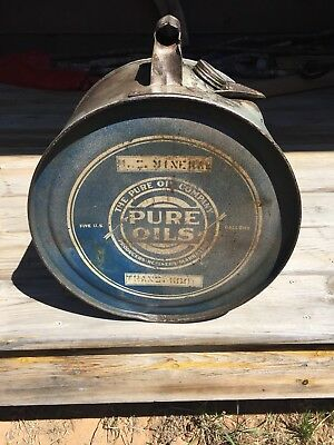 Vintage Early PURE OILS 5 Gallon Gas Service  Station Rocker Can RARE Variation