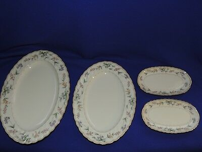 "2 Noritake Brookhollow Platters 12"" 14"" + 2 Relish/Butter Trays Original Sticker"