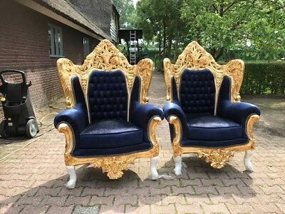 Antique Rococo Throne Chair Set In  Italian Style: Two Chairs (2 Pieces)