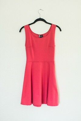 Short Coral Pink Skater Dress Cute Summer Small Juniors Casual