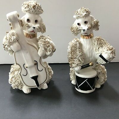 Vintage 50's Spaghetti Poodles Thames Figurines Musical Instruments Painted eyes
