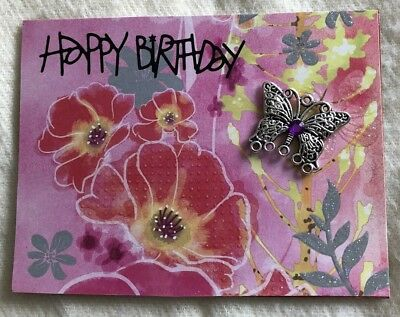 Handmade Greeting Card - Happy Birthday - Pink Floral With Silver Butterfly