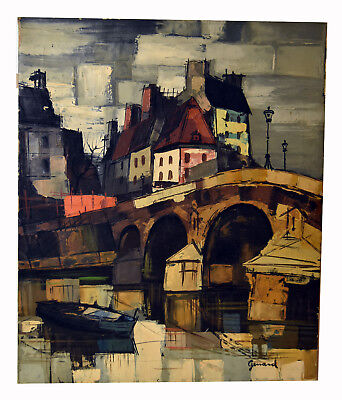 """24"""" Vintage Oil Painting Canvas Signed GERARD Old Town View Boat & Bridge"""