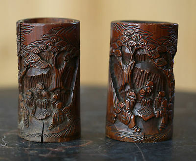 Antique Chinese carved pair of miniature bamboo brush pots,  19 century