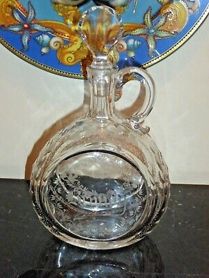Antique Fine French Etched Glass Brandy Decanter