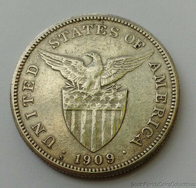 1909-s Philippines 1 One Peso .800 Silver Coin