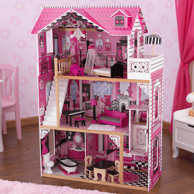 Brand New Kids Girls Wooden Pink 3 Levels Doll House for 12'' dolls