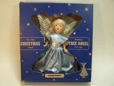 Vintage Christmas Angel Tree Top Topper Composition Doll Blue Dress Blonde Box