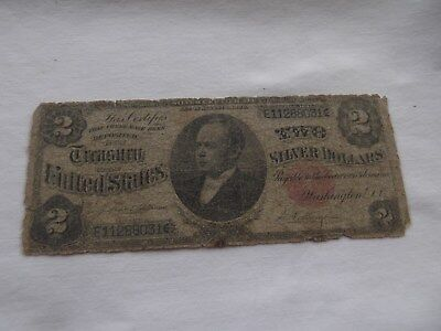 1891 $2  Silver Certificate FR-246 - Small Read Seal - Circulated - Filler Note