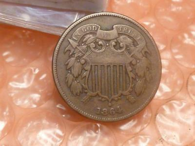 1864 Two Cent Piece  Civil War Era Coin Clear Date #5