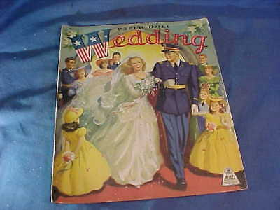 1943 WWII MILITARY WEDDING Uncut PAPER DOLL Book by Merrill