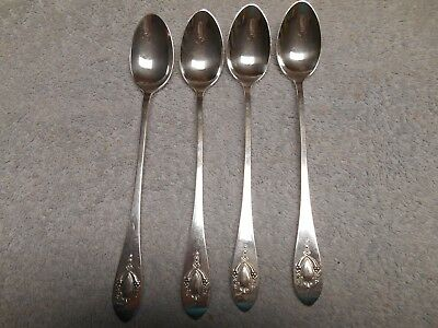 "Set of 4 Lunt Mount Vernon Pattern Sterling Silver 7.5""  Iced Tea Spoons NO MONO"